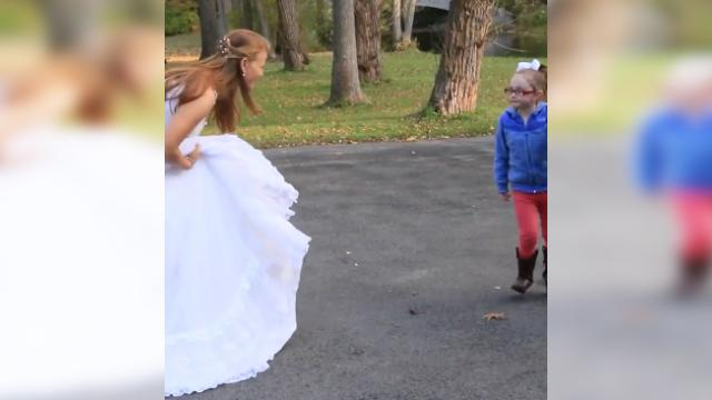 Bride sweetly plays along when little girl with autism mistakes her for cinderella