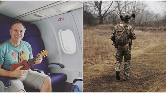 Travel blogger gives up first-class seat to soldier, then six years later receives anonymous note