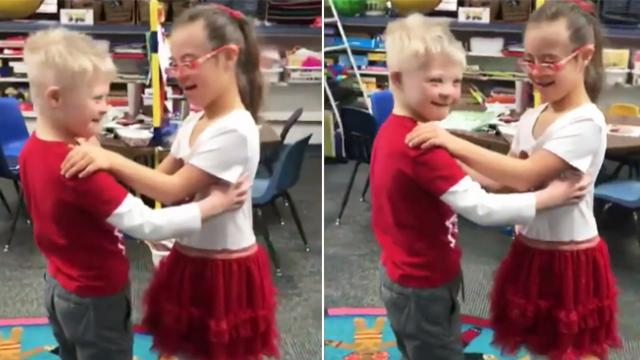Special education teacher captures video of best friends with Down syndrome sharing a sweet dance