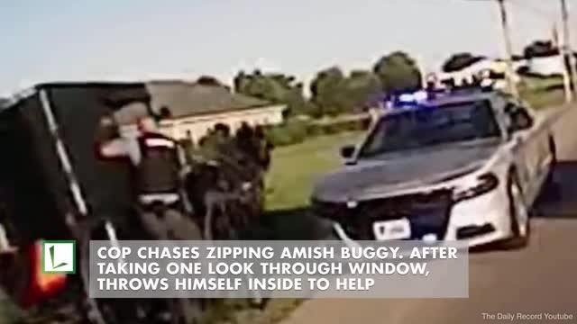Police officer hops into buggy to stop runaway horse