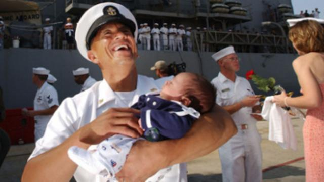 Military dads meet their babies for the first time