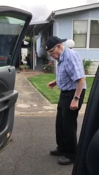 93-year-old energetic grandpa jumps out of car for impromptu dance performance