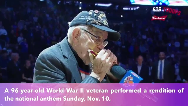 96-year-old World War II veteran plays national anthem on harmonica at Knicks game