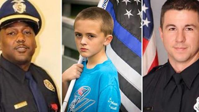 10-year-old boy runs a mile for 'every fallen police officer' with blue lives matter flag