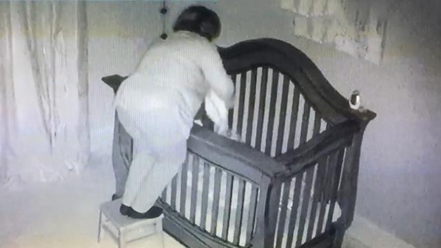 Baby monitor captures hilarious footage of grandma babysitting