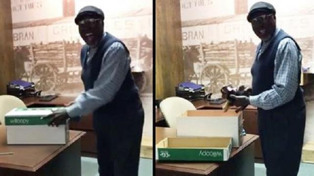Coworkers surprise long-time janitor with puppy after his dog