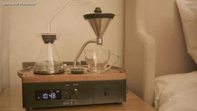 Alarm clock wakes you up by brewing coffee