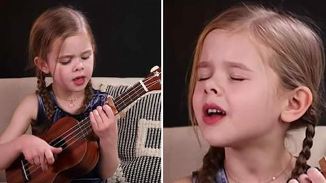 6-year-old girl sings Elvis classic while playing ukulele – watch