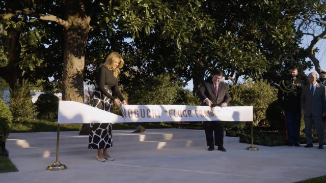 First Lady Melania Trump unveils Isamu Noguchi sculpture installation in the White House rose garden