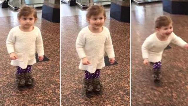 Girl thinks she's at the airport to see planes, until her mother says: 'Look right there'