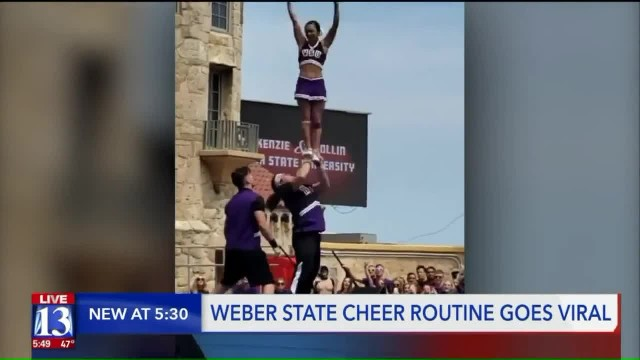 2 cheerleaders nail 'Most Difficult' routine at stunt championship, leave 600,000 people floored