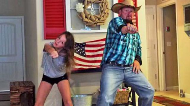 Hysterical cowboy dad busts a move with daughter for epic dance off