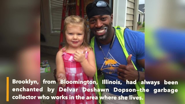 Sweet girl gives garbage man a birthday cupcake, 6 months later he gives her his own surprise