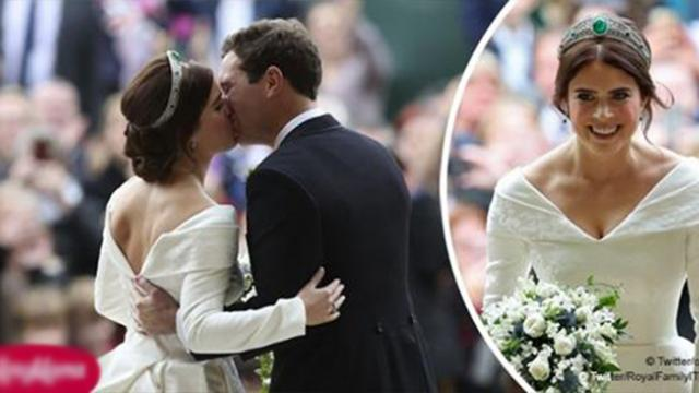 Princess Eugenie shares a first kiss at Royal wedding showing her scars in chic backless dress