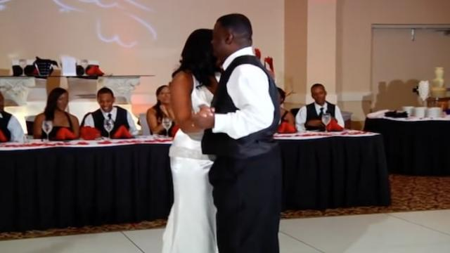 This bride's father daughter dance, had their wedding guests in total uproar