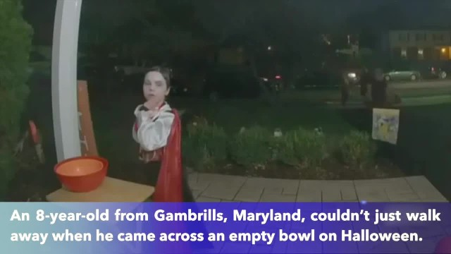 Maryland boy gives up his own candy when he came across an empty Halloween bowl