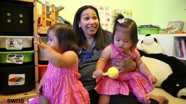 Twin toddlers are one-in-a-million because they have Down's Syndrome