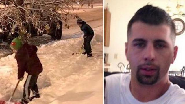 2 boys shovel snow on driveway: then dad spots the man behind them
