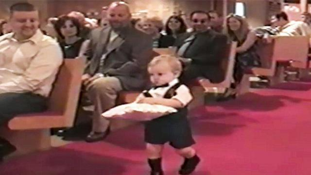 It was a picturesque wedding until the ring bearer's unforgettable entrance steals the show
