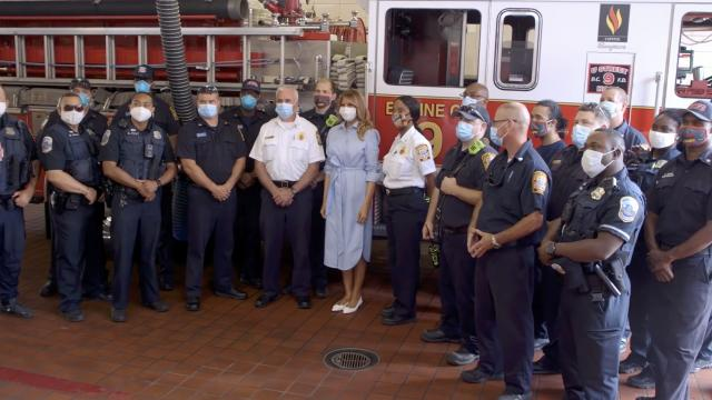 First Lady Melania Trump visits engine company 9