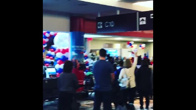 Busy airport comes to standstill as airline sings anthem to Gold Star families