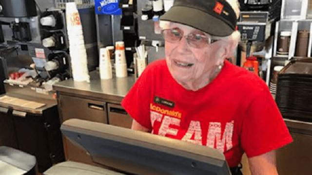 Meet the 94 year-old woman who has worked at Mcdonald's for 45 years
