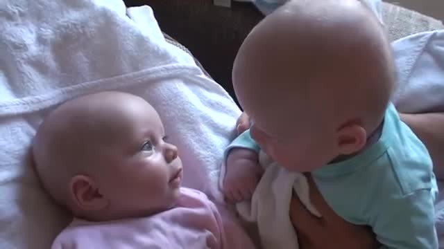 Pay Close Attention To The Twin In Pink Does After Dad Puts Them Next To Each Other