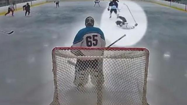 Man has heart attack mid hockey game, but 'guardian angel' rushes to save his life