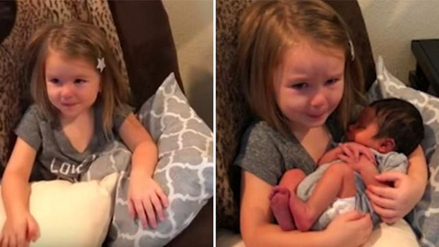 Mom Places Baby Cousin In Little Girl's Lap But Emotional Reaction