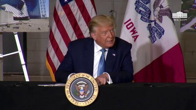 President Trump participates in an Iowa disaster recovery briefing