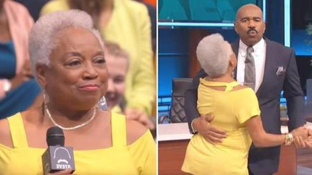 Grandma asks Steve Harvey to dance and he delivers moves that has the audience roaring