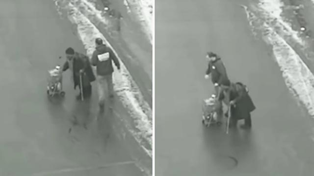 Man suddenly stops mid-traffic, then he approaches elderly woman crossing icy road