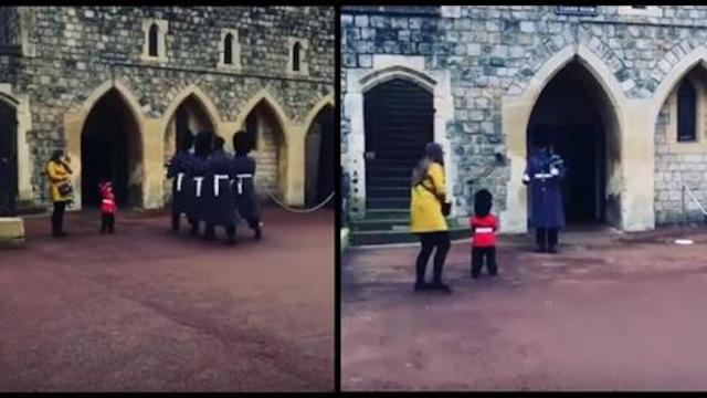Mom lets tiny boy salute Queen's guards not expecting one to turn around and single him out